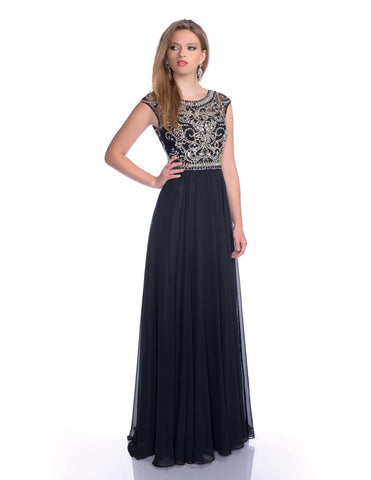 Envious Couture 16050 Long beaded cap sleeve embellished top with open back flowy chiffon A line prom dress evening gown formal dress. A Line formal evening gown. Great prom dress  Available Sizes: 6, 10  Available Colors: Black