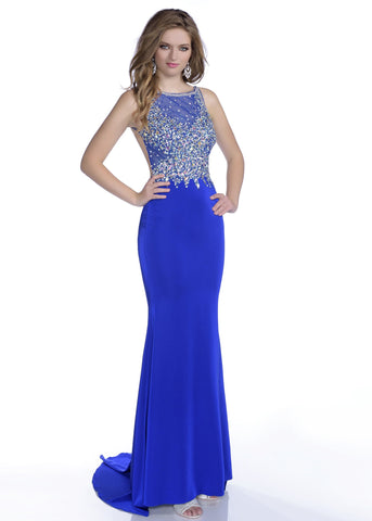 Envious Couture 16051 size 0, 4, 14 Royal Blue embellished sheer neckline open back fitted prom dress pageant gown evening dress open back with train