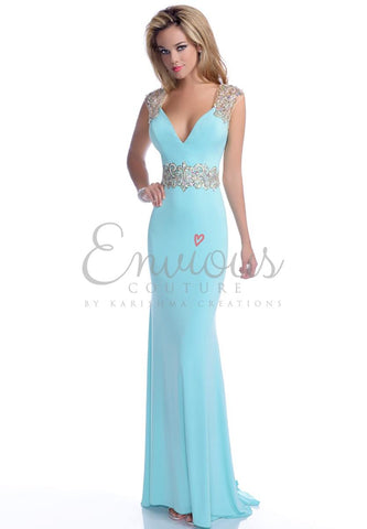 Envious Couture 16072 size 0 Aqua/Gold form fitting mermaid prom dress with embellished applique waistline and matching cap sleeves