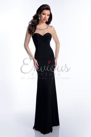 Envious Couture by Karishma Creations style 16114 long jersey dress in black size 00