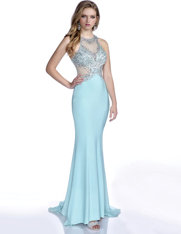 Envious Couture 16135 Size 00  and 8 Aqua  Gorgeous, slimming jersey prom dress with a jeweled halter top and a illusion mesh side and back long stretch jersey Prom Dress Pageant Gown