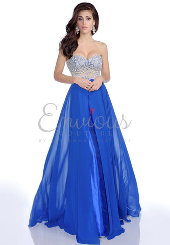 Envious Couture 16137 size 4, 6 strapless sweetheart neckline crystal bodice chiffon a line prom dress pageant gown evening dress.