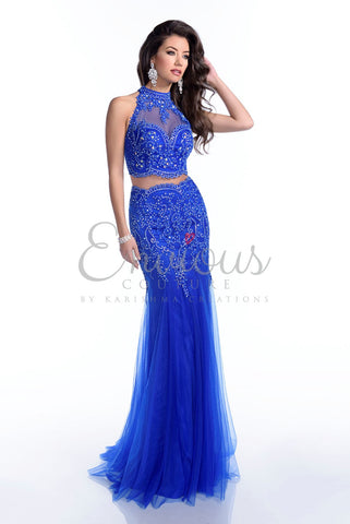 Envious Couture by Karishma Creations style 16140 long two piece lace dress size 4 in Royal Blue