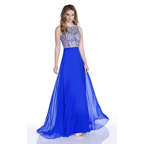 Envious Couture 16164 sheer embellished bodice flowy chiffon A Line prom dress Sheer formal evening gown pageant dress