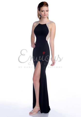 Envious Couture 16257 size 0, 8 or10 black embellished jersey prom dress