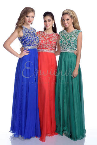 Envious Couture 16262 Royal Chiffon Size 4 prom dress pageant gown