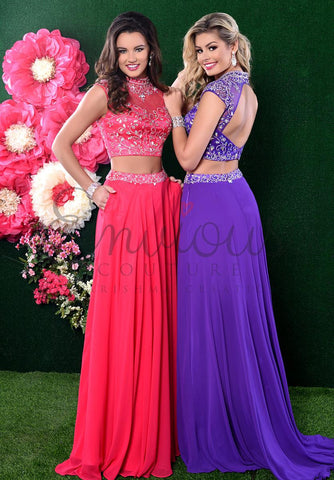 Envious Couture 17033 Size 12 Two Piece Chiffon Prom Dress Fuchsia Formal Gown