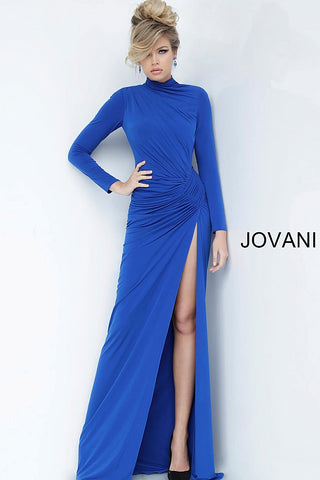 Jovani 1706 high neckline long sleeve evening gown with side slit