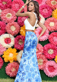 Envious Couture 17076 Two piece printed mermaid dress with halter neckline in White/Blue Print Sizes 4 and 6
