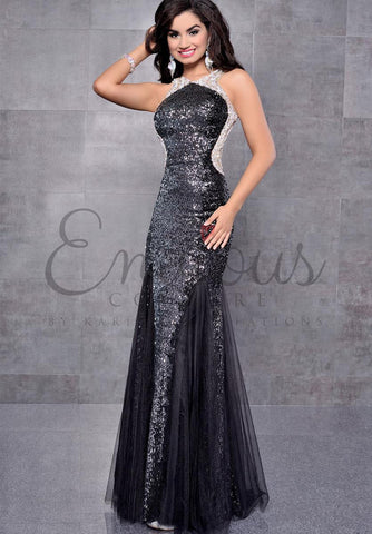 Envious Couture 17145 Crystal mermaid prom dress pageant gown sequins Black Ombre size 2