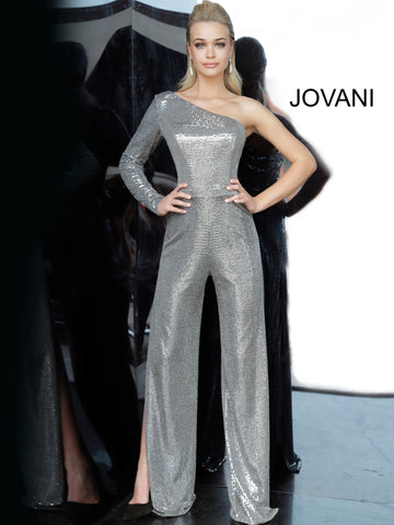 Jovani 1722 One shoulder long sleeve metallic jumpsuit