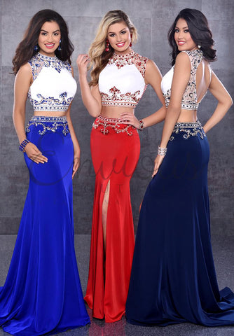 Envious Couture 17310 Two piece prom dress pagean gown in Royal Blue size 4