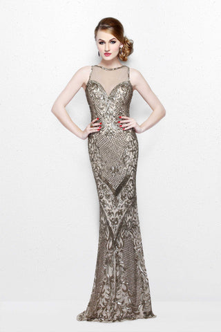 Primavera Couture 1736 champagne size 8 prom dress Embellished Gown