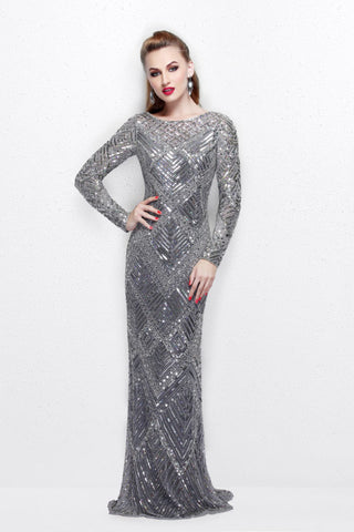 Primavera Couture 1737 long sleeve fully sequin prom dress in ...