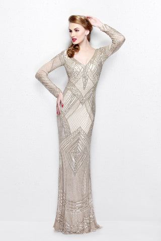 Primavera Couture 1740 long sleeve fully sequined prom dress size 4 or 18 Champagne