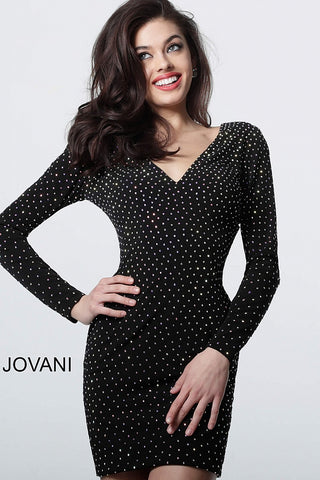 Jovani 1784 long sleeve v neckline embellished short cocktail dress