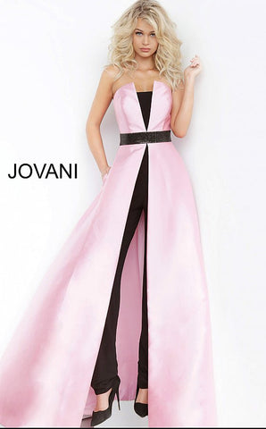 Jovani 1799 is a Pageant and Prom Jumpsuit. This two tone modern strapless jumpsuit features a flowing over skirt perfect for prom, formal & semi Formal events! Jump Suit   Available Sizes: 00-24  Available Colors: light blue/black, pink/ black, white/black