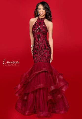 Envious Couture 18034 is a long plus sized ruffle skirt sequin mermaid Prom Dress, Pageant Gown & Formal Evening Wear.