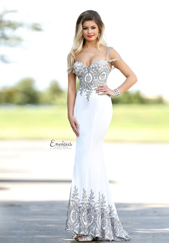 Envious Couture 18080 cold shoulder straps fitted prom dress White Size 10 and 12