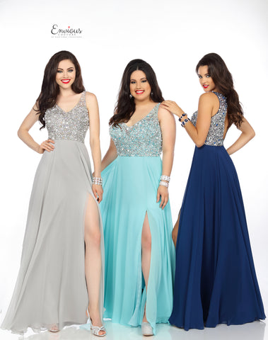 Envious Couture 18092 crystal embellished bodice chiffon prom dress size 4, 12 Midnight