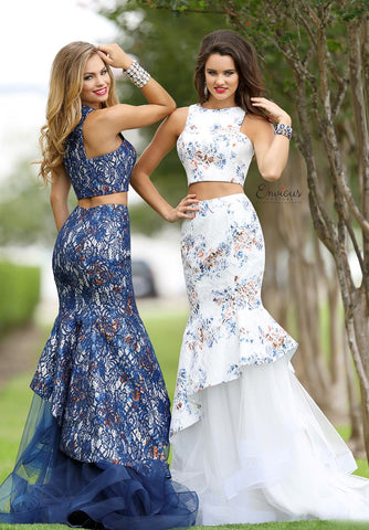 Envious Couture 18106 two piece floral print mermaid prom dress