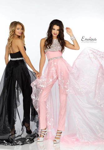 Envious Couture 18162 beaded and embroidered jumpsuit prom dress