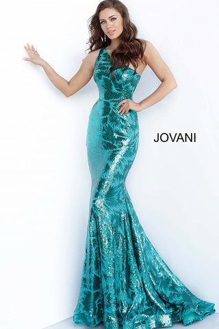 Jovani 1845 Long Sequin Embellished One Shoulder Prom Dress Mermaid Shimmer 2020