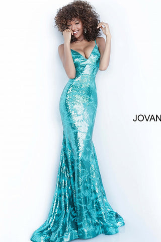 Jovani 1848 Sequin Embellished Long Prom Dress V Neck Mermaid Shimmer 2020 Gown