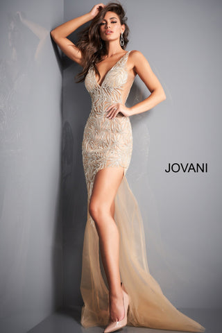 Jovani 1863 is a Gorgeous sheer Fully embellished Plunging Deep v neckline prom dress & Formal evening gown with slit in the sheer column skirt. Fully Embellished Crystal accented beaded sheer fitted bodice. Sheer side panels with mesh inserts.   Available colors:  Navy, Red, Silver/Nude, White  Available sizes:  00-24