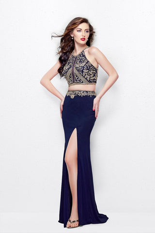 Primavera 1863 Beaded High Neck Two Piece Prom Dress Slit Sheer Illusion Backless
