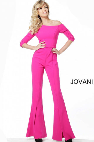 Jovani 1867 off the shoulder fitted bell bottom jumpsuit  three quarter long sleeve, Fuchsia Three Quarter Sleeve Bell Pant Jumpsuit 1867  Black, Fuchsia Sizes 00-24  Fuchsia Three Quarter Sleeve Bell Pant Jumpsuit 1867
