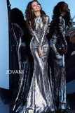 Jovani 1928 Sequin Shimmer Long Sleeve High Neck Evening Gown Metallic 2020