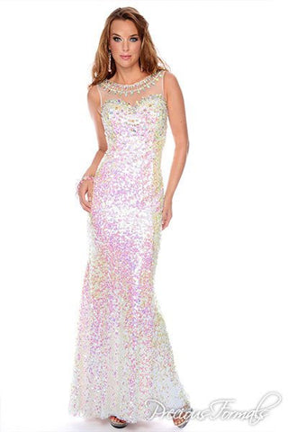 Precious Formals style C 70083 Iridescent White size 2 long sequin gown