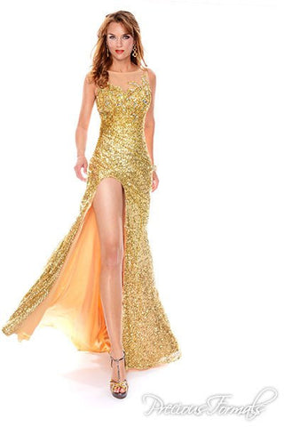 Precious Formals style L46693 Gold/Nude size 4 prom dress