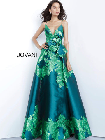 Jovani 02046 v neckline floral print A line prom dress pageant gown with bow detail at the waist  Available colors;  Green, Purple, Red  Available sizes:  00-24