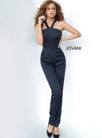 Jovani 1458 Criss Cross open back scuba jumpsuit