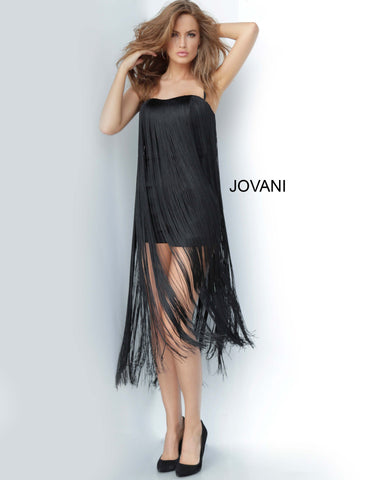 Jovani 3342 straight neckline with spaghetti straps long fringe overlay romper Form fitting black romper, long fringe overlay, sleeveless bodice with spaghetti straps over shoulders, semi sweetheart neckline, half back. Available colors:  Black  Available sizes:  00-24
