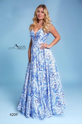 Allie Blu 4209 Blue floral print prom dress