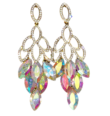 Crystal Aurora Borealis Drop Pageant Formal Earrings Prom AB Rhinestone