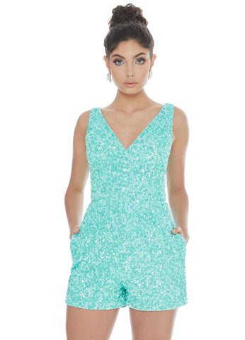 Ashley Lauren 4286 V neckline sequin romper for Prom, Pageant & almost any Formal & Semi Formal Event! Open V Back.  Available colors:  Aqua, Bubble Gum, Black, Red, Yellow  Available sizes:  0-16   Nothing is better than a romper! This fully beaded romper has a V-neckline and is complete with pockets. What more could you need?  Fully Beaded V-Neckline Pockets