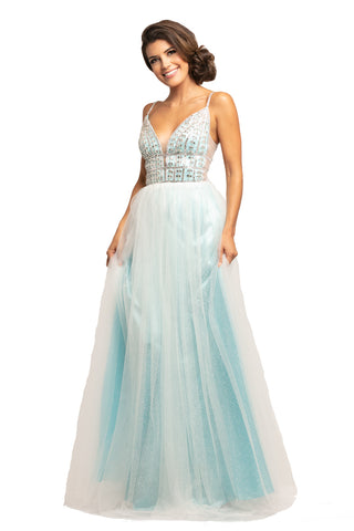 Johnathan Kayne 2000 Pageant Gown Prom Dress Glitter Embellished Plunging Neckline
