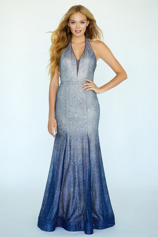 Jolene 20017 Long Glitter Navy Ombre Fitted Mermaid Prom Dress Plunging Gown