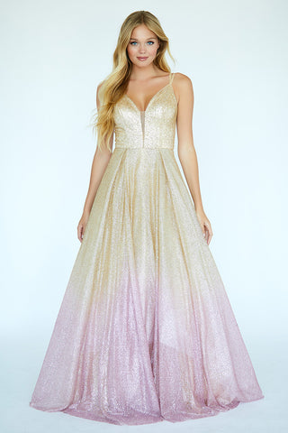 Jolene 20018 Long Gold Glitter Pink Ombre Ballgown Prom Dress Plunging V Neck