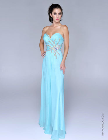 Nina Canacci 2023 Aqua size 16 Prom Dress Pageant Gown Sweetheart Neckline