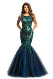 Johnathan Kayne 2018 is a sequin mermaid Prom Dress, Pageant Gown & Formal Evening Wear. Featuring a Sexy Fitted Mermaid Silhouette. High Neckline. Sequin Embellished Bodice with scallop edge. Fit & Flare Leads to a Lush Trumpet Skirt with Iridescent Organza. Sequin Embellishments cascade from the Embellished bodice into the Shimmer Skirt.
