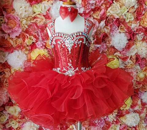 Ritzee Girls 849 Size 3 Cupcake Pageant Dress Sequin Corset Ruffle Skirt Glitz Rhinestone Glass Slipper Formals Cupcake Pageant Dresses