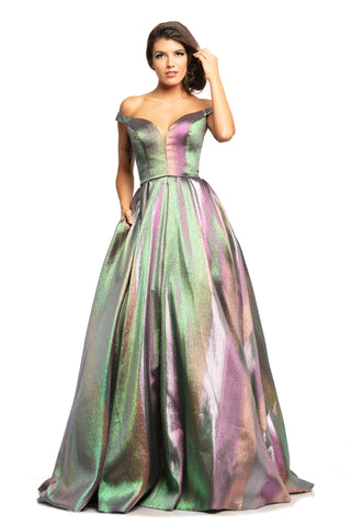 Johnathan Kayne 2019 Metallic Ballgown Unicorn Prom Dress Pockets Off Shoulder 2020