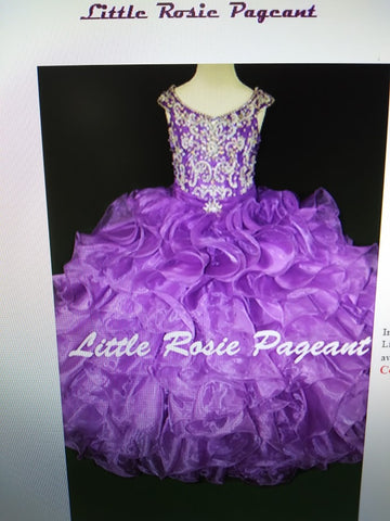 Little Rosie LR2175 Size 12 Purple Girls Glitz Pageant Dress Corset Ruffle Ballgown Skirt