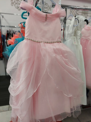 Girls Size 4 Pink Long Iridescent Shimmer Ballgown Princess Off the shoulder