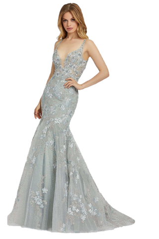Mac Duggal 20206M - 20206 Sheer Fitted V Neck Embellished Lace bodice, with a Mermaid trumpet skirt & sweeping train. Prom Dress Backless Pageant, beautiful v-neckline gown with a beading, and perfect floral embroidered detailing. 20206M sea mist formal gown is fashioned in beaded floral embroidery, with mesh insert plunging neckline and plunging V-back. The illusion bodice is offset with a fully-lined skirt that spills to a court train. Available Sizes: 0,2,4,6,8,10,12,14,16  Available Colors: Sea Mist